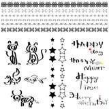 Linha decorativa e grupo do projeto da caligrafia Fotos de Stock Royalty Free