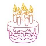 Linha degradada bolo delicioso com estilo ardente das velas ilustração do vetor