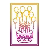 Linha degradada quadro com aniversário das velas e dos balões do bolo ilustração royalty free