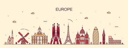 Linha detalhada estilo da silhueta da skyline de Europa da arte ilustração royalty free