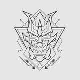 Linha diabólico estilo da máscara ilustração do vetor