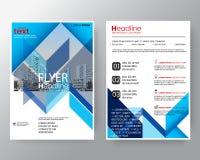 Linha diagonal azul abstrata molde da disposição de projeto do cartaz do inseto da tampa do informe anual do folheto no tamanho A ilustração stock