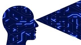 a linha digital arte do circuito da cabeça do cérebro 4k, pessoa pensa a inteligência artificial do AI ilustração royalty free