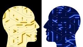a linha digital de circuito de microplaqueta da cabeça do cérebro 4k, pessoa pensa a inteligência artificial do AI ilustração do vetor