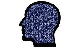 a linha digital de circuito de microplaqueta da cabeça do cérebro 4k, pessoa pensa a inteligência artificial do AI ilustração stock