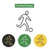 Linha do ícone do jogador de futebol Imagem de Stock