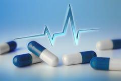 linha do batimento cardíaco da rendição 3d em um fundo médico Fotos de Stock