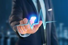 linha do batimento cardíaco da rendição 3d em uma relação futurista Imagens de Stock