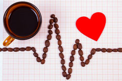 Linha do cardiograma de grãos de café, de xícara de café e de conceito vermelho do coração, da medicina e dos cuidados médicos Foto de Stock
