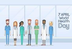 Linha do médico Team Group Health Day Thin ilustração do vetor