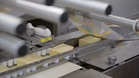 Linha do transporte para o processo de empacotamento do queijo Feche acima do queijo que processa na f?brica do alimento video estoque