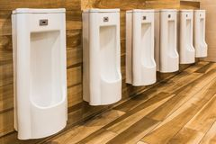 Linha dos mictórios brancos da porcelana em toaletes públicos limpos, claros imagem de stock