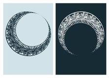 A linha dos pares do vetor do quadro do vetor da lua do art nouveau isolou-se ilustração do vetor