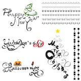 Linha e vetor caligráficos ajustados da caligrafia Fotos de Stock Royalty Free