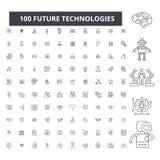 Linha editável ícones das tecnologias futuras, grupo de 100 vetores, coleção Ilustrações pretas do esboço das tecnologias futuras ilustração royalty free