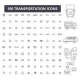 Linha editável ícones do transporte, grupo de 100 vetores, coleção Ilustrações pretas do esboço do transporte, sinais ilustração do vetor