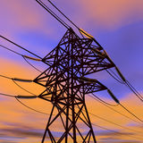 Linha eléctrica de alta tensão no por do sol Imagens de Stock Royalty Free