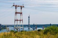 Linha elétrica de alta tensão Fotografia de Stock