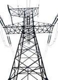 Linha elétrica de alta tensão no fundo isolado branco Imagens de Stock