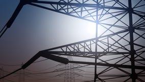 Linha elétrica simplificada contra o céu claro, alta altitude rendição 3d Fotografia de Stock Royalty Free