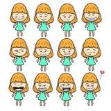 Linha elegante bonita bonito ilustração dos desenhos animados das mulheres da menina da menina da senhora do sumário do projeto d Imagens de Stock