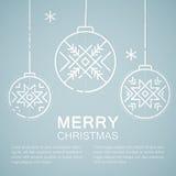 Linha emblema do estilo com as bolas estilizados do Natal ilustração do vetor