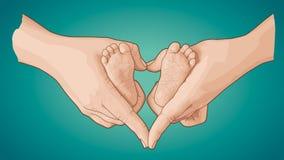 Linha esboço da arte dos pés do bebê nas mãos da mãe foto de stock