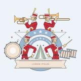 Linha estilo da faixa militar, ilustração do vetor Imagens de Stock
