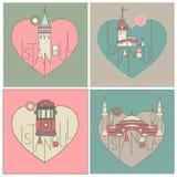 A linha estilo do ícone ilustrou os marcos de Istambul ajustados ilustração royalty free