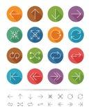 Linha estilo simples: Ícones gráficos das setas ajustados - ilustração do vetor ilustração stock