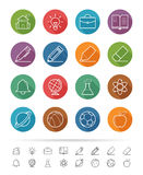 Linha estilo simples: Os ícones da escola e da educação ajustam-se - Vector a ilustração ilustração royalty free