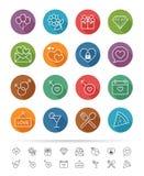 Linha estilo simples: Os ícones datar & de Valentim ajustam-se - Vector a ilustração ilustração stock