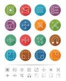 Linha estilo simples: Os ícones gráficos do elemento da interface de utilizador ajustam 1 - Vector a ilustração ilustração royalty free