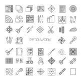 Linha estofando ícones ajustados Fontes e acessórios dos retalhos Imagens de Stock