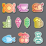 Linha etiquetas do alimento Fotografia de Stock Royalty Free