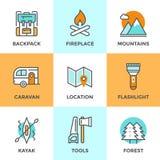 Linha exterior ícones da aventura ajustados Fotografia de Stock