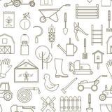 Linha fazendeiro do teste padrão, ferramentas de jardinagem Fotos de Stock