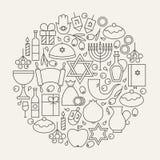 Linha feliz circular ajustada ícones do feriado do Hanukkah dada forma ilustração royalty free