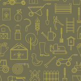 Linha ferramentas de jardim do ícone do teste padrão verde-oliva Fotografia de Stock Royalty Free