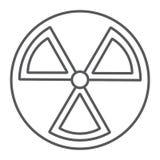 Linha fina ícone da radiação, aviso e símbolo, sinal de perigo, gráficos de vetor, um teste padrão linear em um fundo branco ilustração royalty free