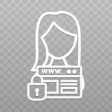 Linha fina ícone da segurança do Web site Ícone da proteção de dados do SSL no fundo transparente Imagens de Stock