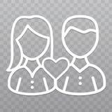 Linha fina ícone do amor dos pares Ícone da amizade no fundo transparente Imagem de Stock