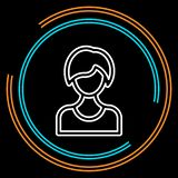 Linha fina ícone do Avatar fêmea simples do vetor ilustração stock