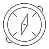 Linha fina ícone do compasso, destino e equipamento, sinal da navegação, gráficos de vetor, um teste padrão linear em um branco ilustração royalty free