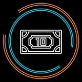 Linha fina ícone do dinheiro simples do vetor ilustração stock