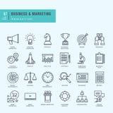 Linha fina ícones ajustados Ícones para o negócio, mercado digital Foto de Stock Royalty Free