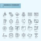 Linha fina ícones ajustados Ícones para o negócio, tecnologia Imagens de Stock Royalty Free