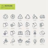 Linha fina ícones ajustados Ícones para reciclar, ambientais Fotografia de Stock