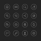 Linha fina ícones com círculo para a Web & o móbil # ícones de 1 general ilustração stock