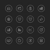 Linha fina ícones com círculo para a Web & o móbil # finança & dinheiro de 21 negócios ilustração do vetor